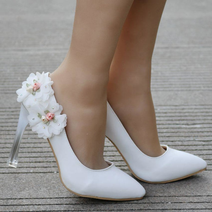 Comfortable Closed Toe Mid Heels Wedding Pumps | Bridelily - wedding pumps