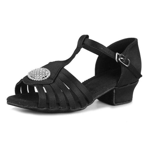 Cow Muscle Diomond Buckle Ballroom Dance Shoes | Bridelily - Black / 10.5 - ballroom dance shoes
