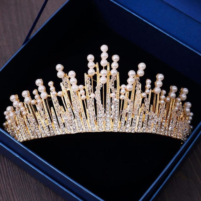 New Vintage Multilayers Crystal Tiaras | Bridelily - Gold - tiaras