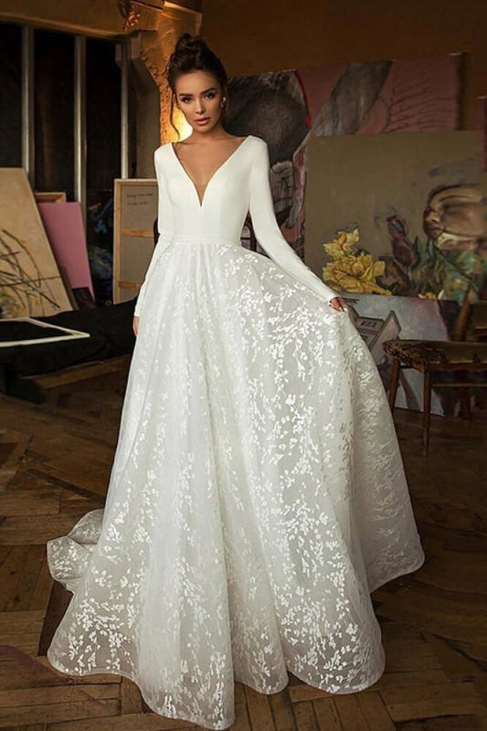 Long Sleeve V-neck Boho Bridal Gowns Satin Backless Lace Wedding Dress