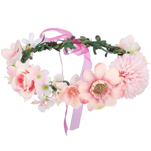 Crown Floral Bow Garland Flower Girl Accessories | Bridelily - 25-A - flower girl accessories