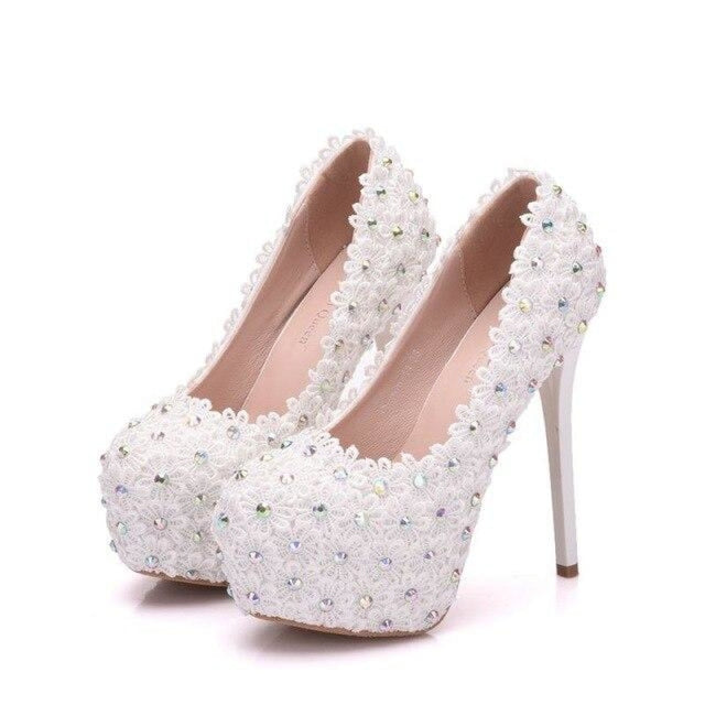 Crystal Bead Thin High Heel Wedding Pumps | Bridelily - white / 34 - wedding pumps