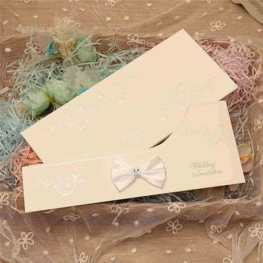 Crystal Bowknot Style Side Fold Invitation Cards (Set of 50) | Bridelily - invitation cards