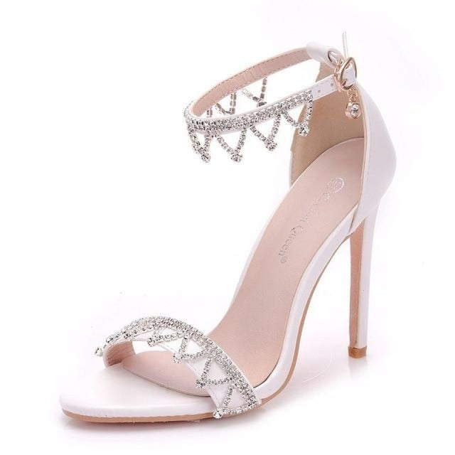 Crystal High Heel Handmade Wedding Sandals | Bridelily - white / 35 - wedding sandals