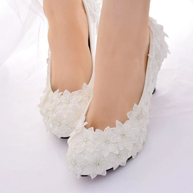 Crystal High Heels Lace Flower Wedding Pumps | Bridelily - white 4.5cm / 34 - wedding pumps