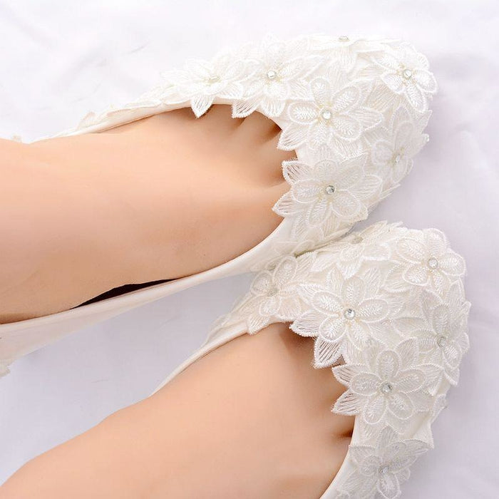 Crystal High Heels Lace Flower Wedding Pumps | Bridelily - wedding pumps
