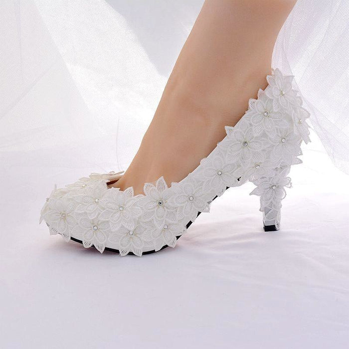 Crystal High Heels Lace Flower Wedding Pumps | Bridelily - white 8cm / 34 - wedding pumps