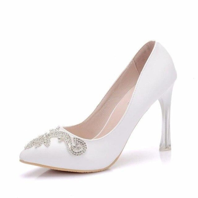 Crystal High Heels Pointed Toe Wedding Pumps | Bridelily - white PU / 34 - wedding pumps