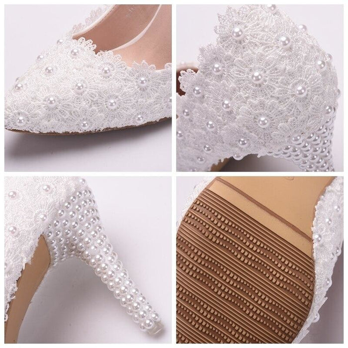 Crystal Lace Flower Pearls Wedding Pumps | Bridelily - wedding pumps