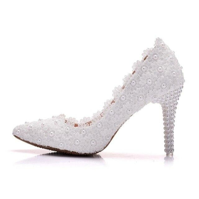 Crystal Lace Flower Pearls Wedding Pumps | Bridelily - white / 34 - wedding pumps