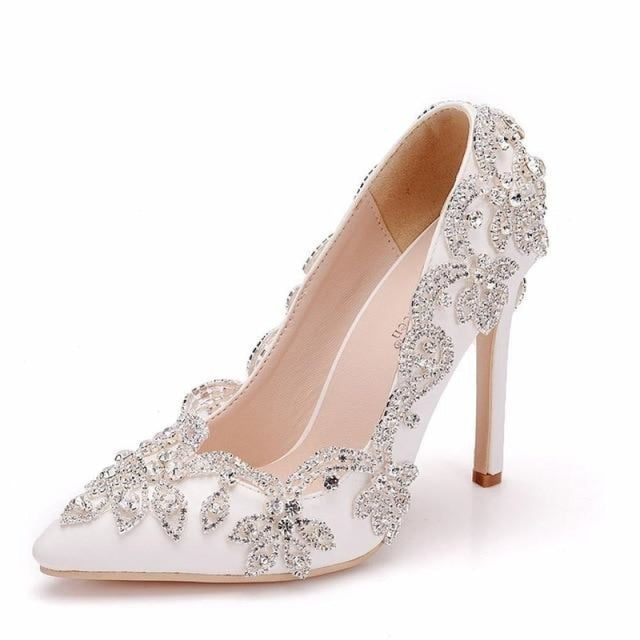 Crystal Pointed Toe High Heel Wedding Pumps | Bridelily - white / 36 - wedding pumps