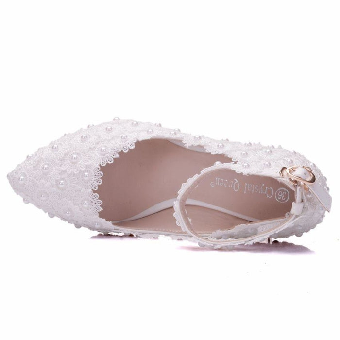 Crystal Queen White Flower Wedding Flats | Bridelily - wedding flats