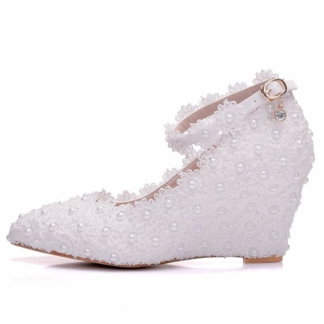 Crystal Queen White Flower Wedding Flats | Bridelily - white / 34 - wedding flats