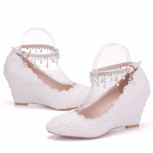 Crystal Queen White Flower Wedding Flats | Bridelily - Pearl Wristband / 34 - wedding flats