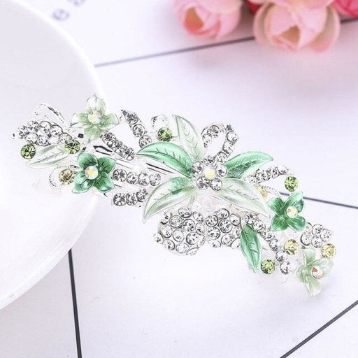 Crystal Shiny Leaves Flower Girl Accessories | Bridelily - Green - flower girl accessories