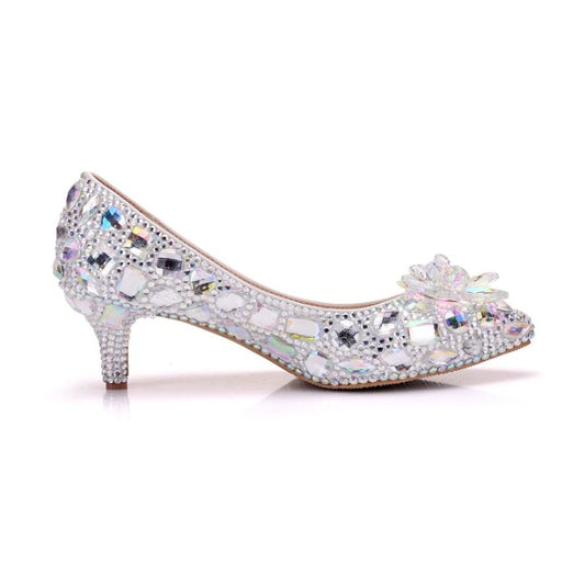 Crystal Silver Rhinestone Wedding Pumps | Bridelily - wedding pumps
