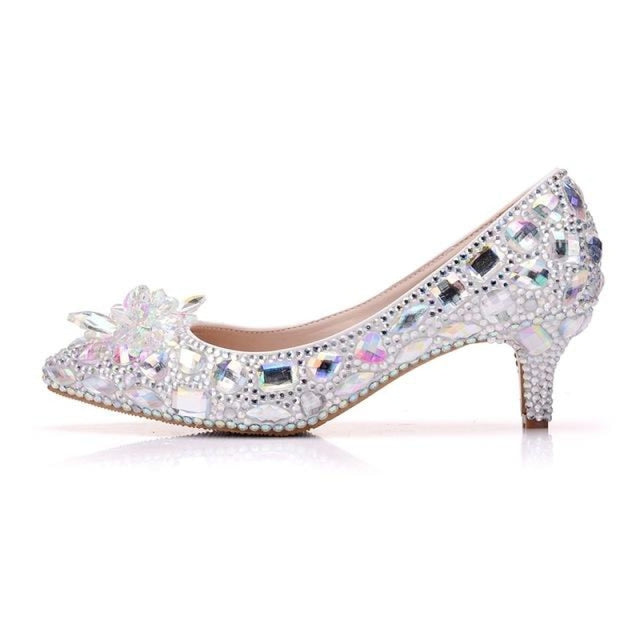 Crystal Silver Rhinestone Wedding Pumps | Bridelily - AB COLOR / 34 - wedding pumps