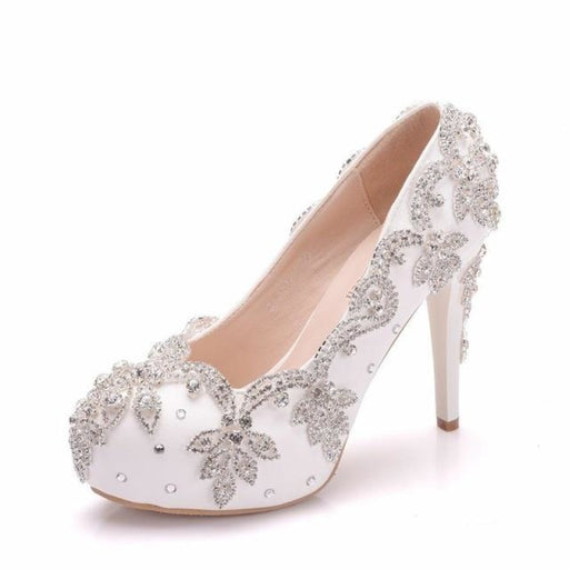 Crystal Square High Heel Wedding Pumps | Bridelily - white / 34 - wedding pumps