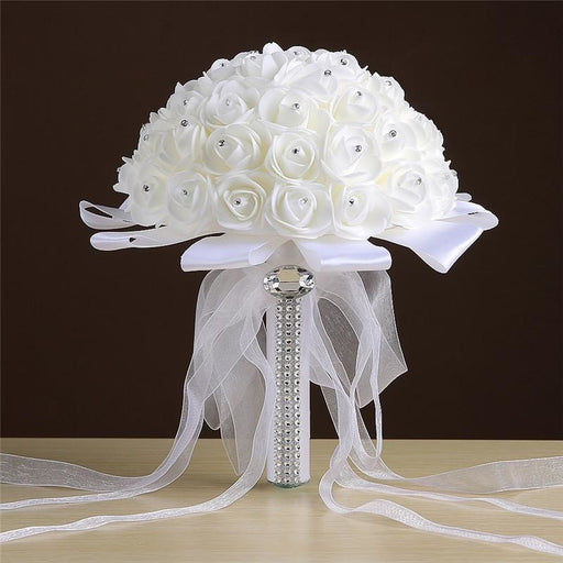 Crystals Ivory Flower Wedding Bouquets | Bridelily - Ivory - wedding flowers