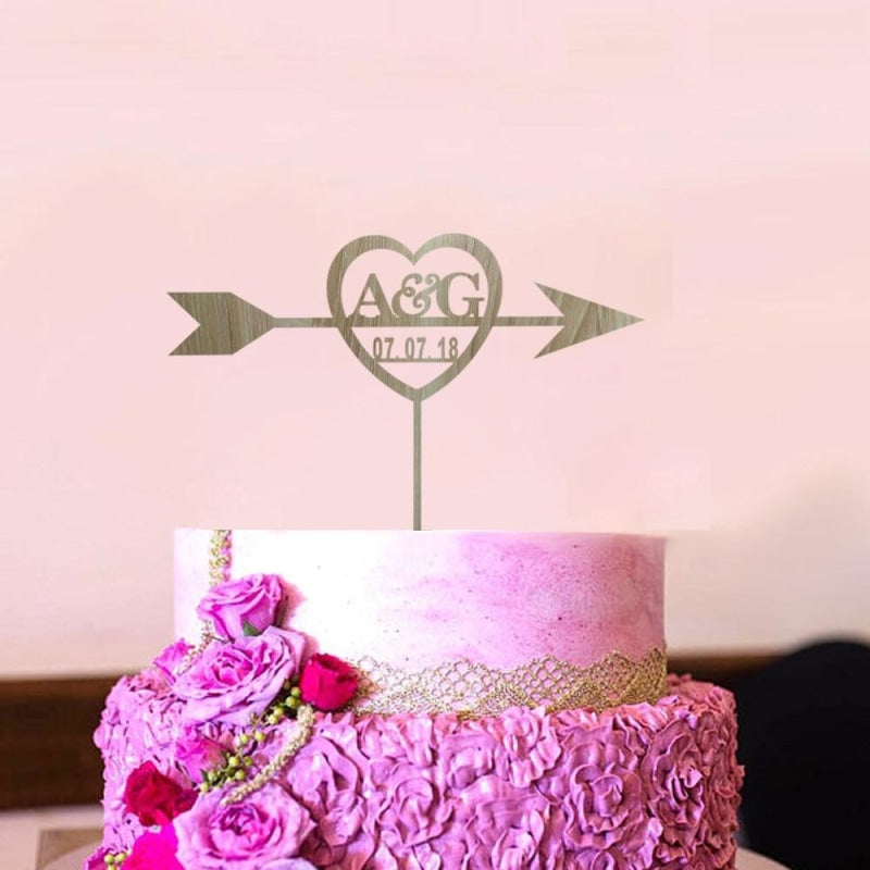 Custom Last name Initials Cake Toppers | Bridelily - cake toppers