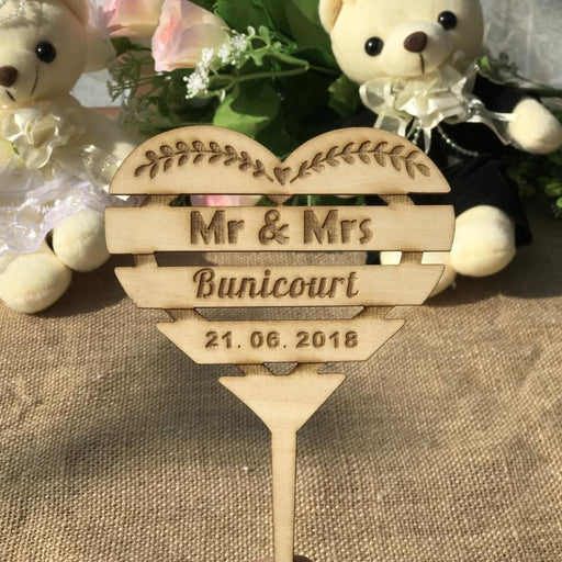 Custom Names Personalized Name Wood Cake Toppers | Bridelily - cake toppers