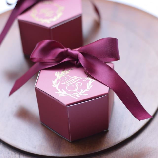 Customized Wine Red With Bowknot Favor Holders | Bridelily - MAROON - favor holders
