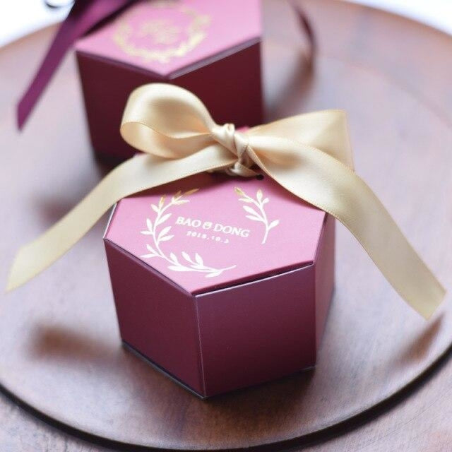 Customized Wine Red With Bowknot Favor Holders | Bridelily - Gold - favor holders
