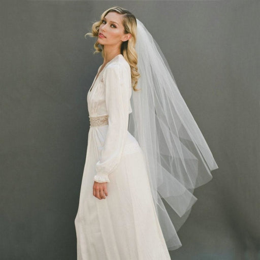 Cut Edge 120cm With Comb Two Layers Wedding Veils | Bridelily - wedding veils