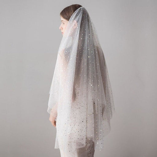 Cut Edge Ivory Stars Two Layer Wedding Veils | Bridelily - wedding veils