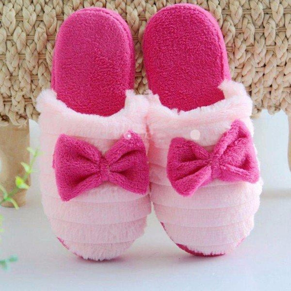 Cute Bowknot Slip On Flat Indoor Home Shoes - Rose Red / US 5 - home shoes