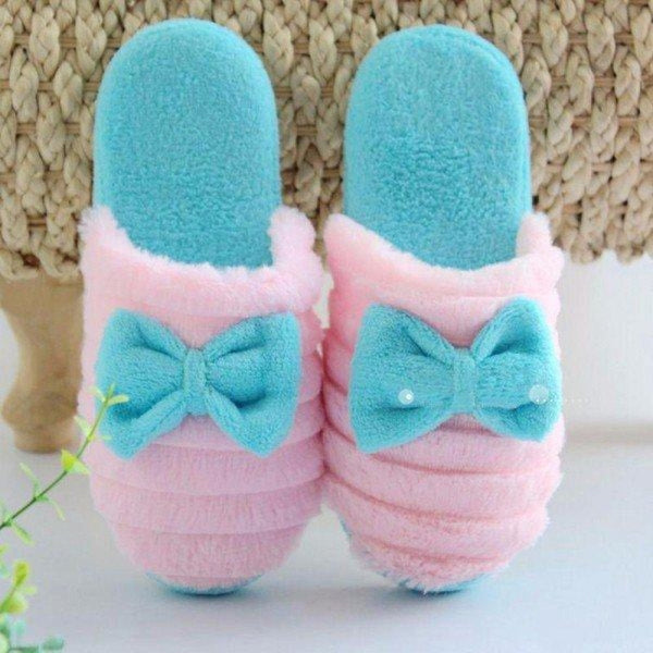 Cute Bowknot Slip On Flat Indoor Home Shoes - Blue / US 5 - home shoes