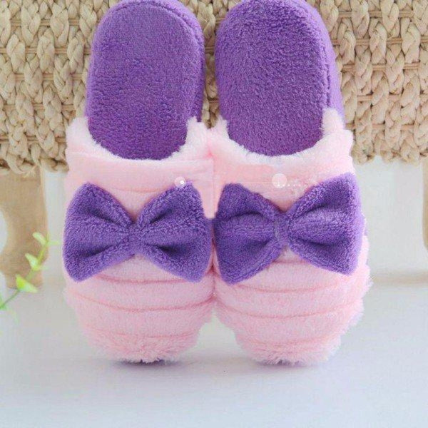 Cute Bowknot Slip On Flat Indoor Home Shoes - Purple / US 5 - home shoes