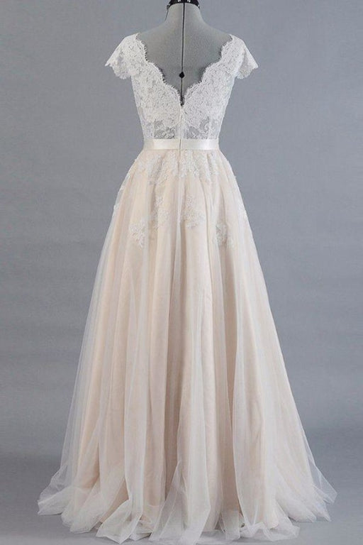 Cute Cap Sleeve V-neck Lace Tulle Wedding Dress - Wedding Dresses