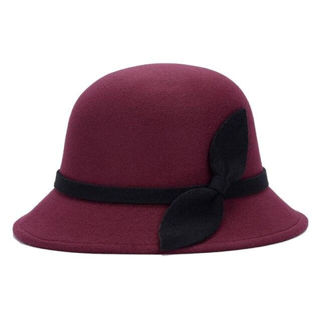 Cute Wool Felt With Bowknot Bowler/Cloche Hats | Bridelily - Wine Red - bowler/cloche hats