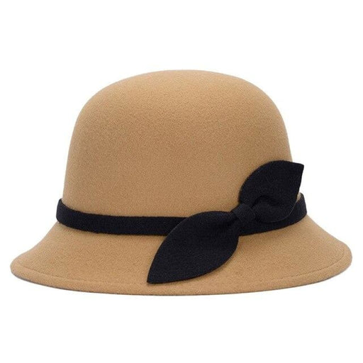 Cute Wool Felt With Bowknot Bowler/Cloche Hats | Bridelily - Camel - bowler/cloche hats