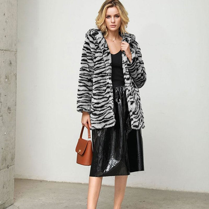Daily Fall & Winter Hooded Leopard Faux Fur Coat - womens furs & leathers