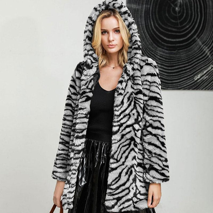 Daily Fall & Winter Hooded Leopard Faux Fur Coat - S / White - womens furs & leathers