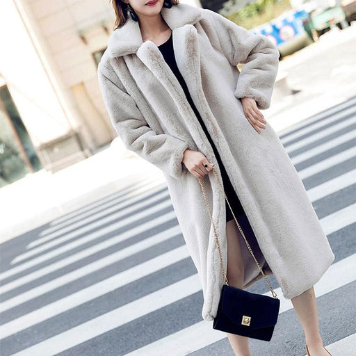 Daily Street Fashion Going out Winter Long Faux Fur Coat - Gray / S - womens furs & leathers