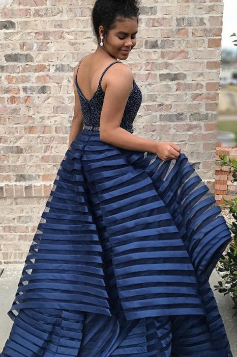 Dark Blue Spaghetti Straps Puffy Prom Dress with Beads Unique Long Evening Dresses - Prom Dresses