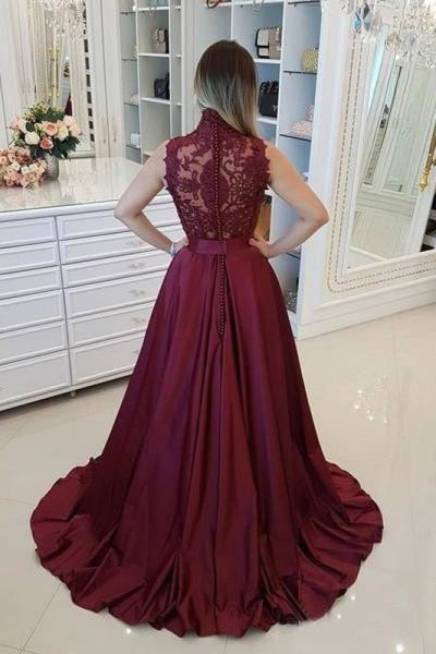 Dark Red High Neck Sleeveless Long Prom Dresses with Lace A Line Graduation Dress - Prom Dresses