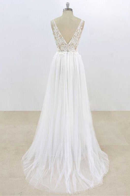 Deep V-neck Lace A-line Tulle Wedding Dress - Wedding Dresses