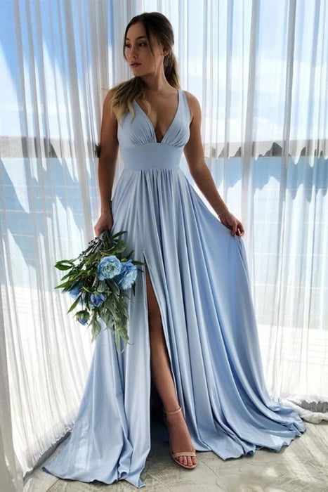 Deep V Neck Light Blue Long Prom Simple Flowy Bridesmaid Dresses - Prom Dresses