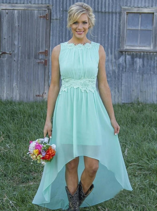 Delicate Bateau Sleeveless Asymmetry Mint/Peach Bridesmaid Dress - Bridesmaid Dresses