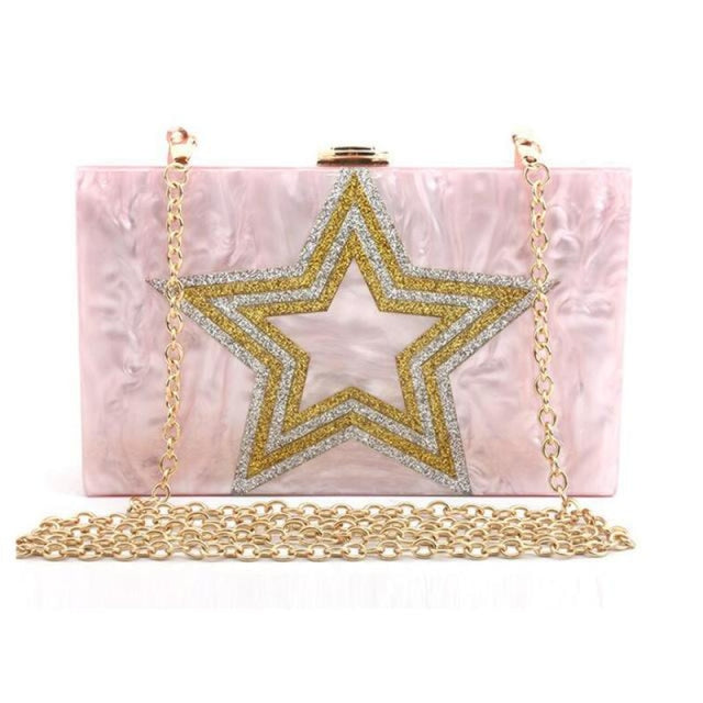 Design Sequin Star Pattern Chain Wedding Handbags | Bridelily - Pink - wedding handbags