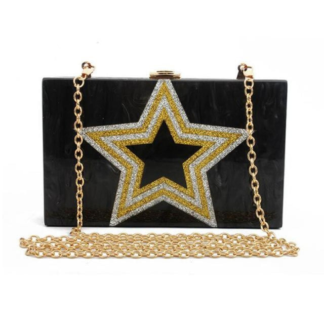 Design Sequin Star Pattern Chain Wedding Handbags | Bridelily - Black - wedding handbags