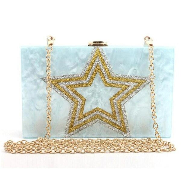 Design Sequin Star Pattern Chain Wedding Handbags | Bridelily - Blue - wedding handbags