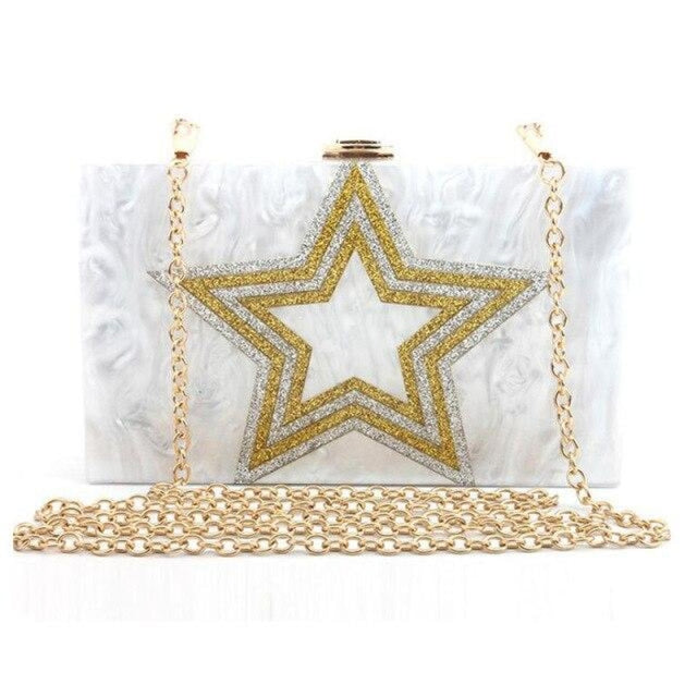 Design Sequin Star Pattern Chain Wedding Handbags | Bridelily - White - wedding handbags