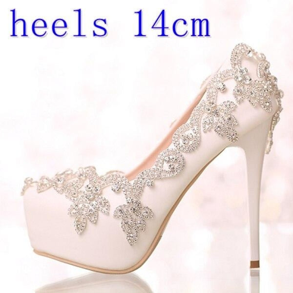 Diamond Bling White Crystal Wedding Pumps | Bridelily - white heels 14cm / 34 - wedding pumps