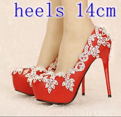 Diamond Bling White Crystal Wedding Pumps | Bridelily - red heels 14cm / 34 - wedding pumps