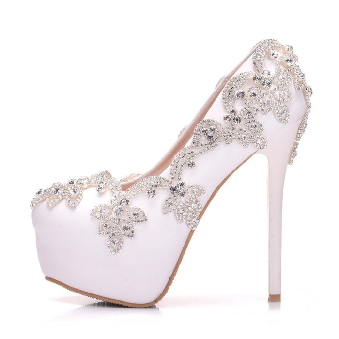 Diamond Bling White Crystal Wedding Pumps | Bridelily - wedding pumps